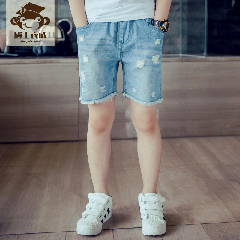 2016 夏 男童牛仔短褲 兒童破洞五分褲 中大童薄款牛仔短褲