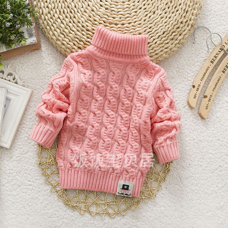 Xiaole pig girls sweater knitted boys collar cover with high and low collar, solid color, warm and thickened, new style sleeve, autumn and winter