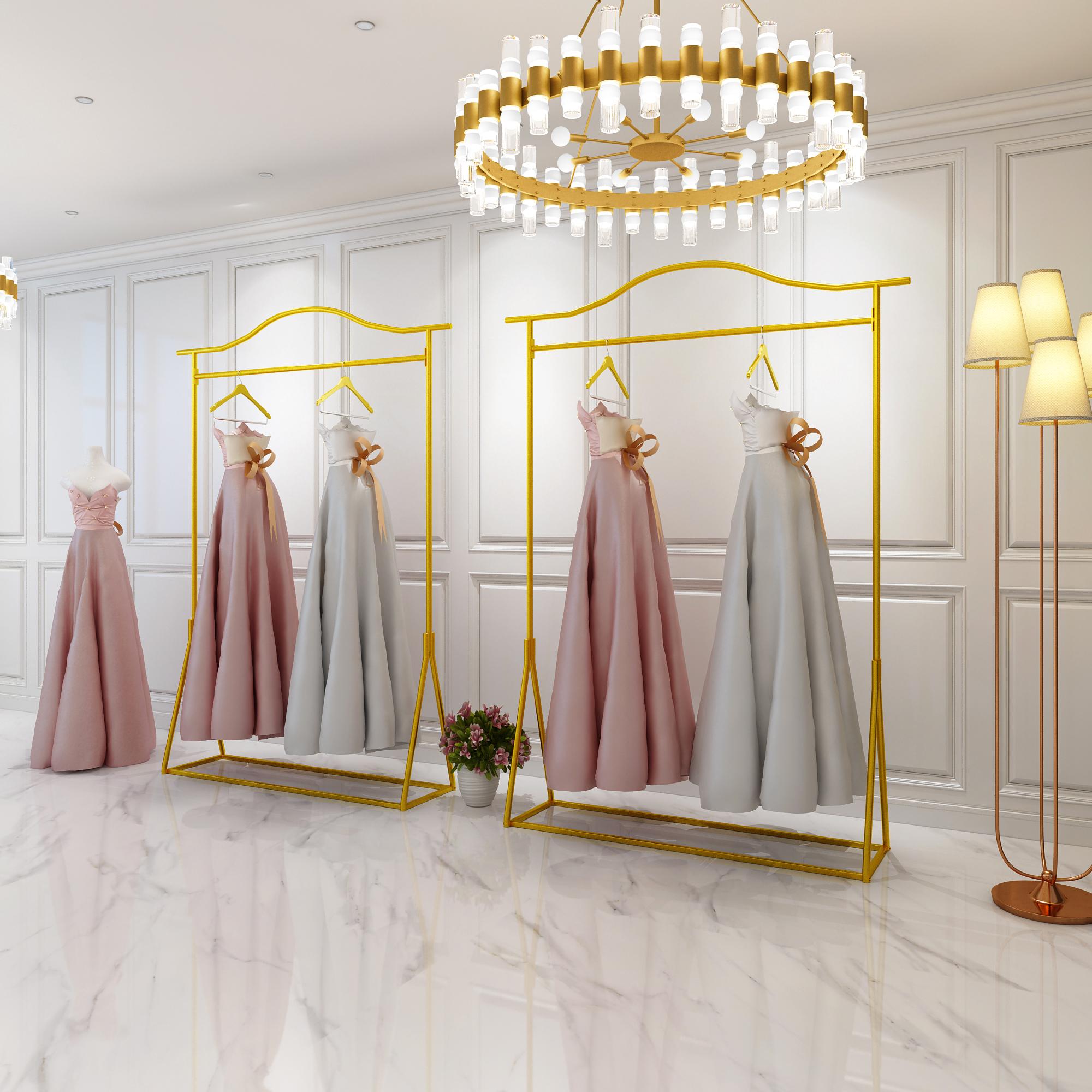 婚纱架展示架服装店高档落地式挂礼服的衣架专用架子欧式铁艺金色180.00元包邮