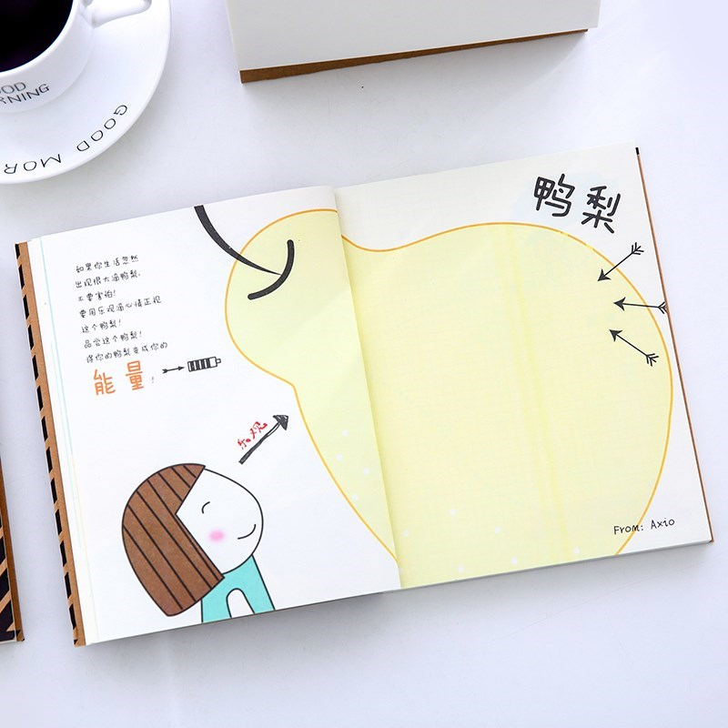 Creative color page illustration notebook primary school students have a picture inside lovely color inside the page hand-painted