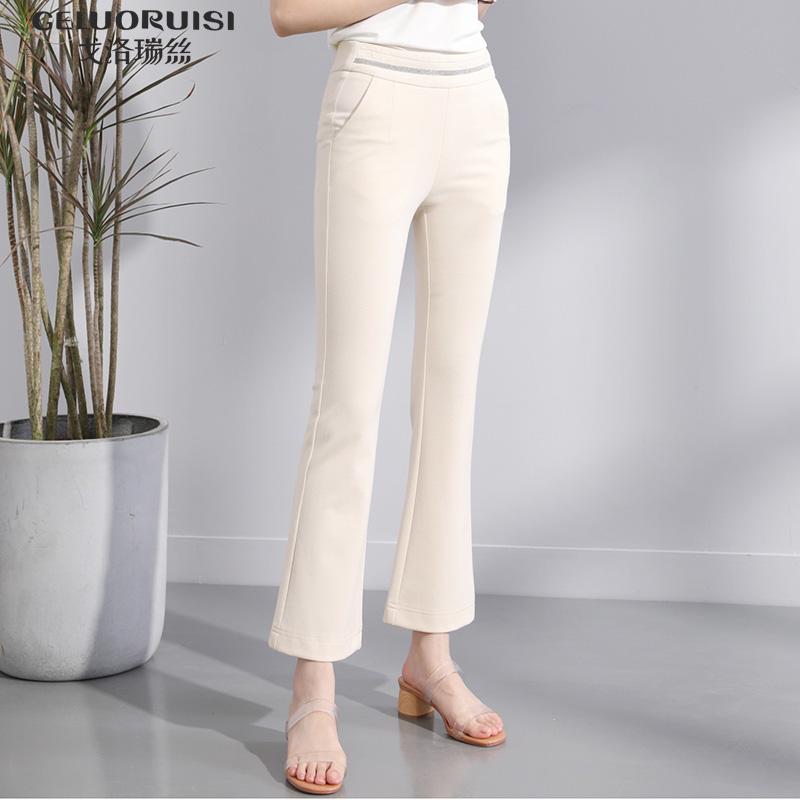 戈洛瑞丝女裤2020春夏新款微喇裤女九分高腰垂感弹力休闲薄喇叭裤