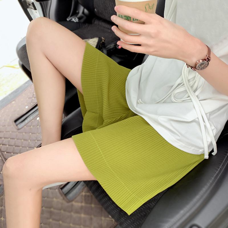 2020夏季薄款宽松直筒阔腿显瘦绿色运动短裤褶皱女中裤高腰五分裤图片