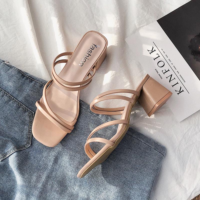 仙女风一字带凉鞋女夏2020新款网红百搭中跟粗跟高跟半拖鞋ins潮