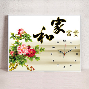 现代新中式 客厅装 饰画简约餐厅挂画免打孔配电箱中国风挂钟表壁画