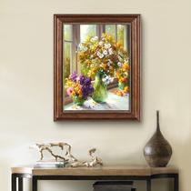 手绘油画现代玄关走廊背景墙挂画美式轻奢荷花花卉抽象金箔装饰画
