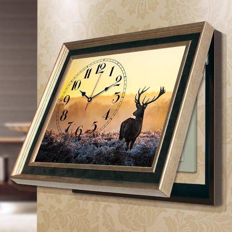 美式客厅餐厅电表箱钟表免打孔壁画