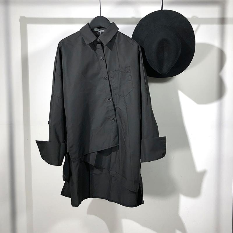 2019秋季原创暗黑系设计师款不对称宽松长袖衬衫日系个性潮牌上衣