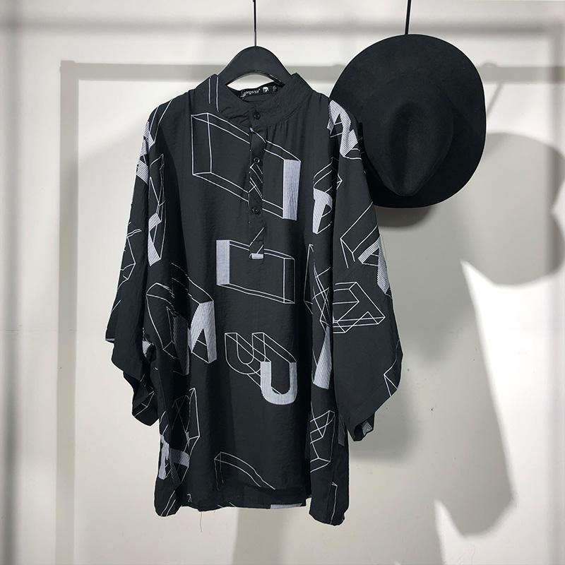 原创新款男士嘻哈不规则几何印宽松中袖衬衫潮牌个性立领上衣潮