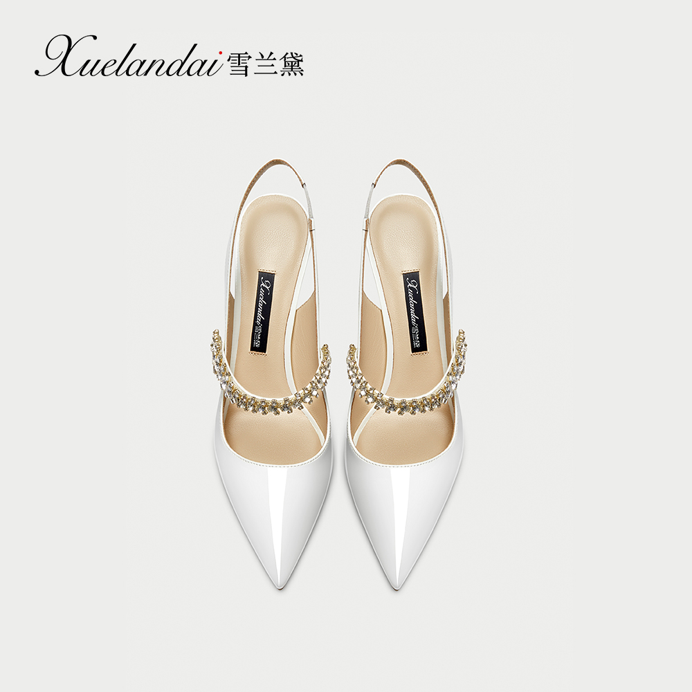 Snow Lauder women's shoes 2020 spring new white French small high heels sexy Rhinestone Baotou sandals women's thin heels