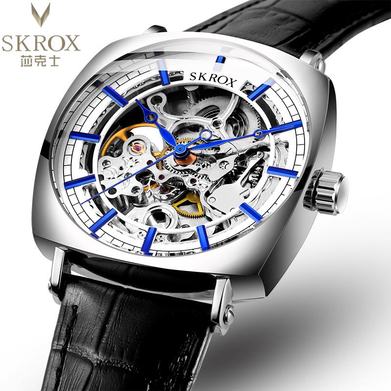 2021新款skrox双面镂空方形真陀飞轮个性男士手表全自动机械表