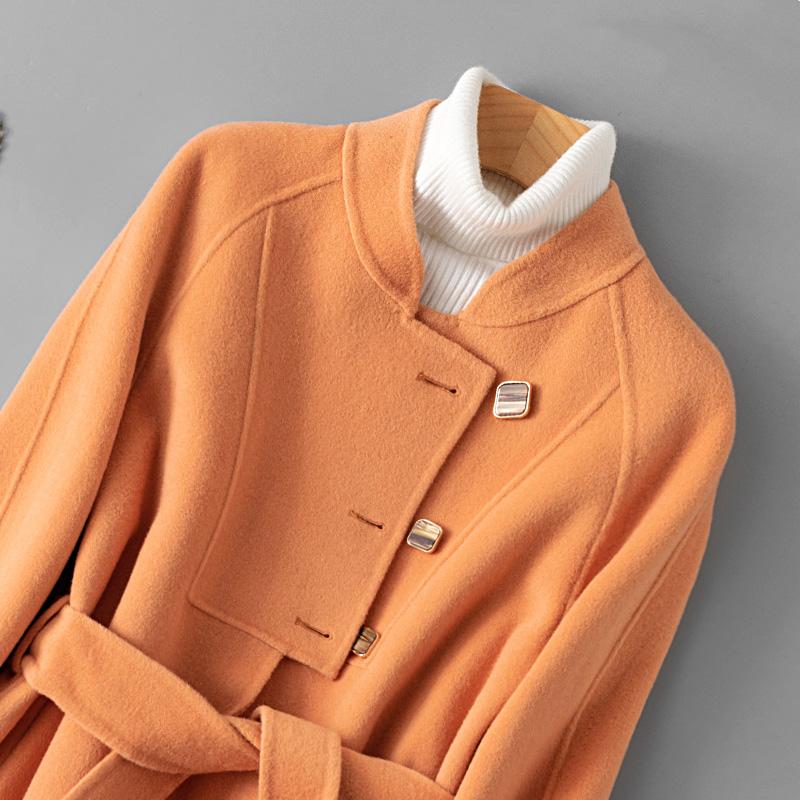 橘色双面羊绒大衣女2021秋冬新款小个子修身短款羊毛韩版毛呢外套