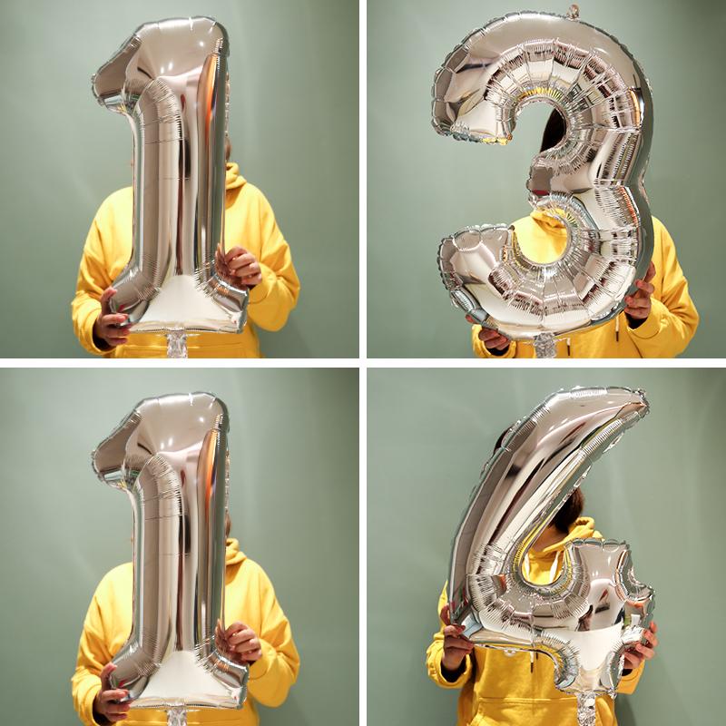 儿童周岁成人生日布置装饰用品32寸铝膜字母气球卡通创意派对装饰