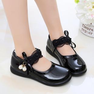 儿童鞋女童皮鞋春秋2020新款韩版软底宝宝公主鞋小学生黑色演出鞋图片