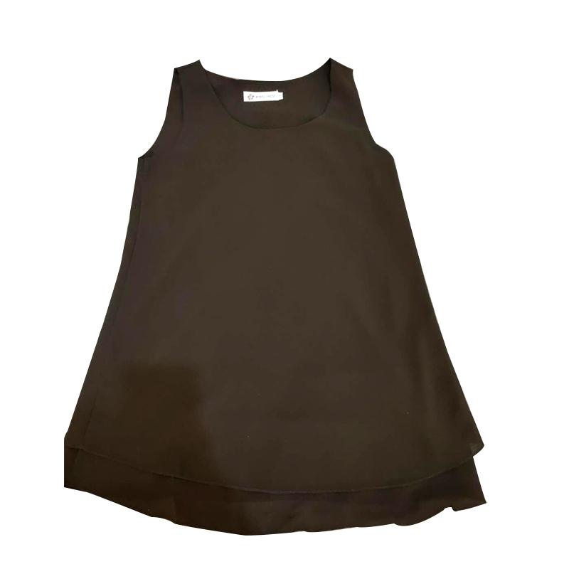 夏季T恤圆领吊带女中长款雪纺衫无袖双层防透 小个子背心宽松纯色