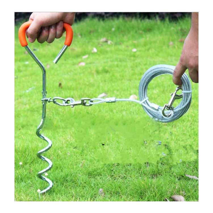 Dog wire rope dog chain matching dog peg fixed ground nail waterproof Oxford bag independent bag