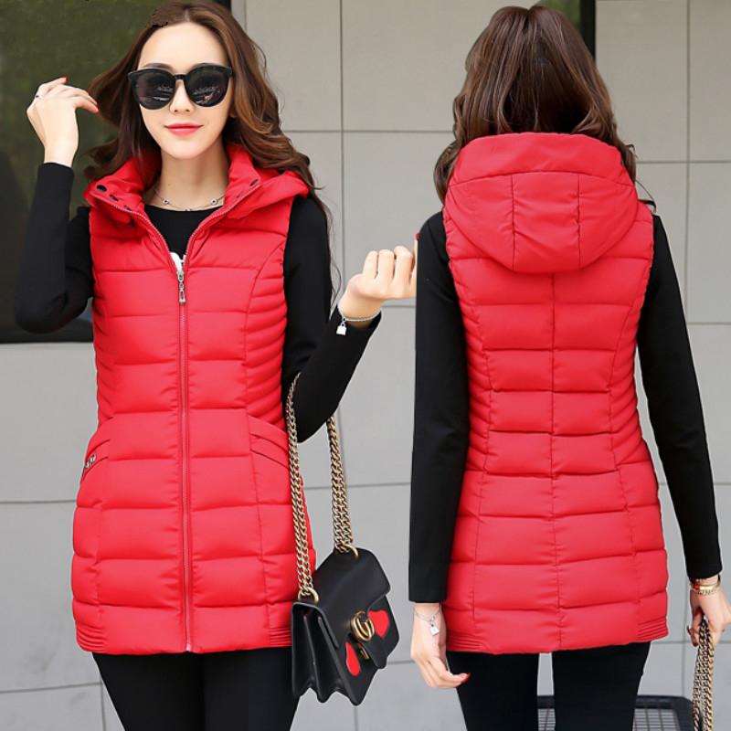 棉马甲女秋冬新款韩版修身中长款羽绒棉马夹加厚保暖棉服显瘦外套图片
