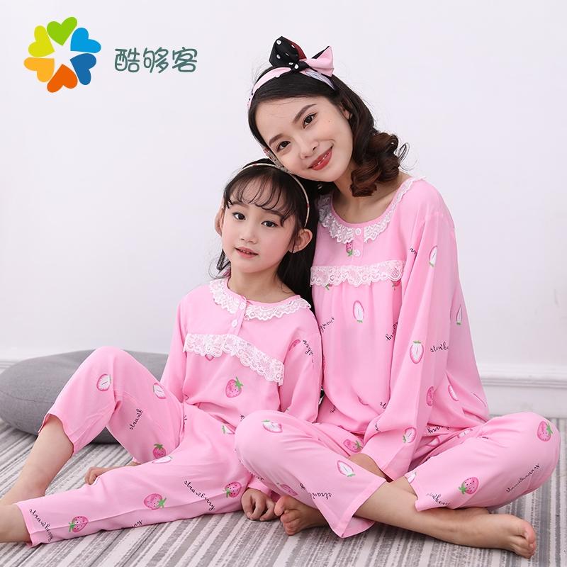 夏季居家绵绸亲子装儿童女童棉绸套女士睡衣空调服母女家居服套3