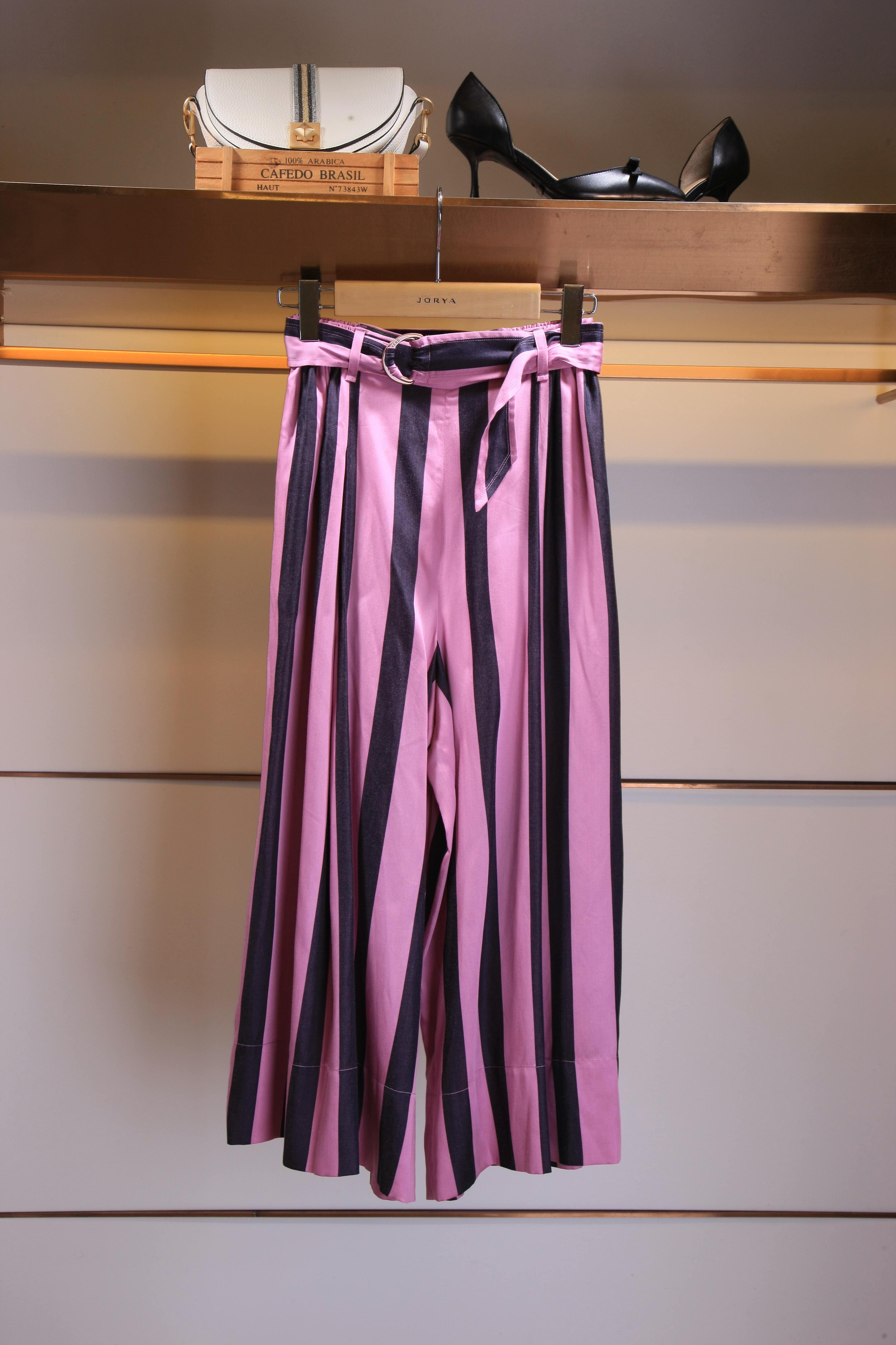 专柜正品条纹阔腿夏款J2203801周末裤子1880元