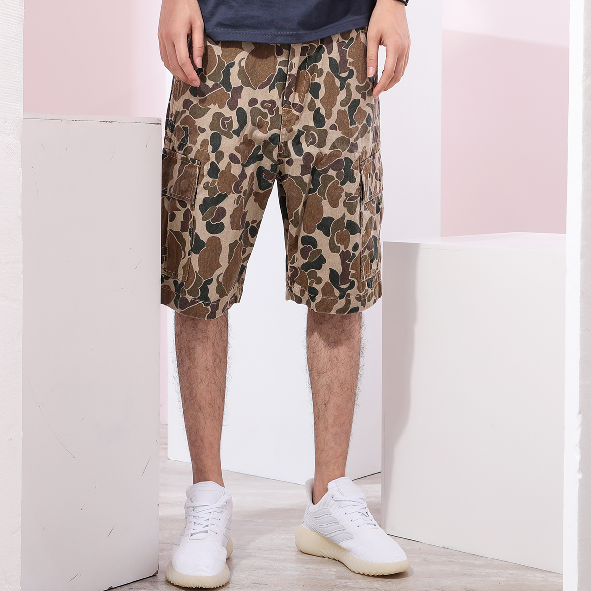 Youth student Khaki camouflage mens overalls mens shorts trendy mens casual pants pants pattern Capris