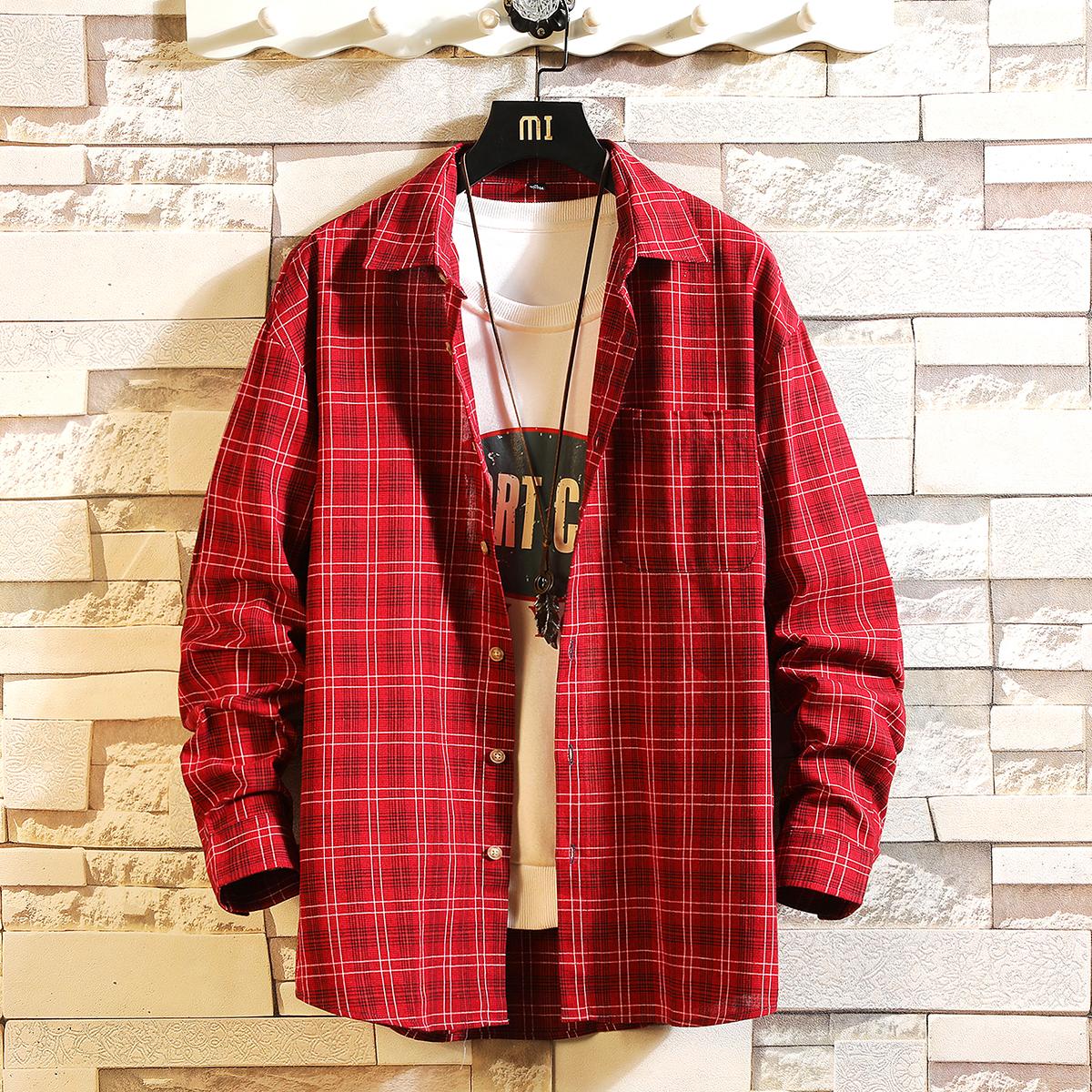 秋季新款格子衬衫男士长袖宽松潮流情侣衬衣大码日系外套C709-P35