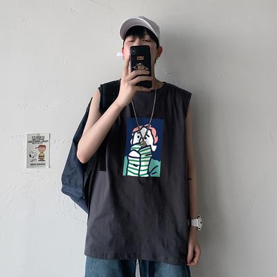 100%棉夏季无袖T恤男宽松大码卡通印花坎肩背心短袖T恤潮B003TP20