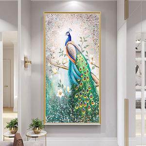 欧式纯手绘油画玄关客厅入户挂画
