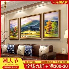 美式沙发背景墙装饰画欧式客厅玄关风景油画三联挂画新款巨人山