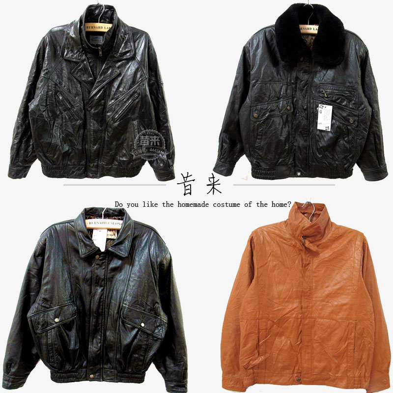 Ancient vintage mens leather coat flying Air Force motorcycle suit short zipper leather jacket jacket winter
