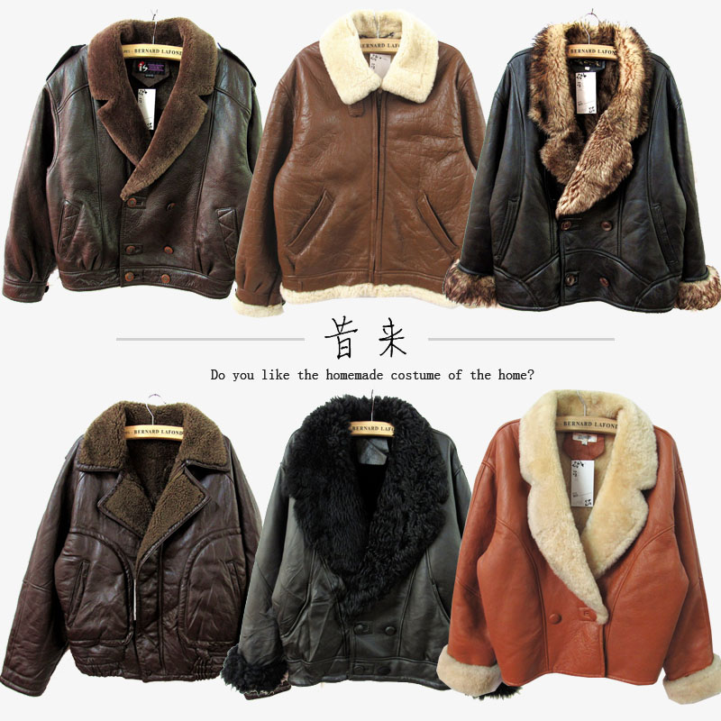 Ancient sheep wool B3 fur one piece Lamb Fur grass jacket mens real wool leather coat air force jacket