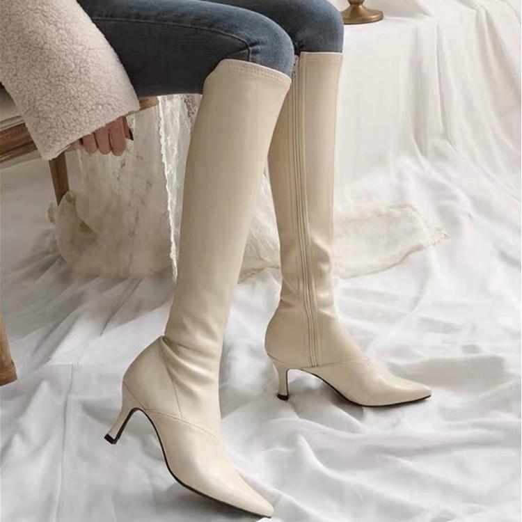 细跟尖头高跟过膝靴女2019新款白色长筒时装弹力靴加绒长靴子女冬