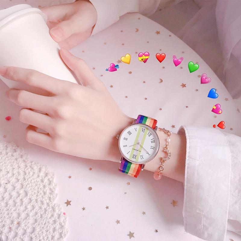 抖音编织彩虹女简约气质学生手表