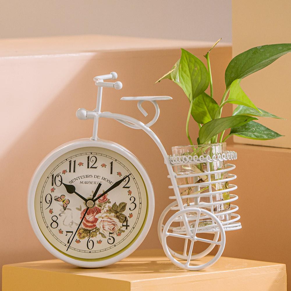 创意静音钟表摆件台式客厅简约现代个性小表桌面时钟床头座钟台钟 Изображение 1