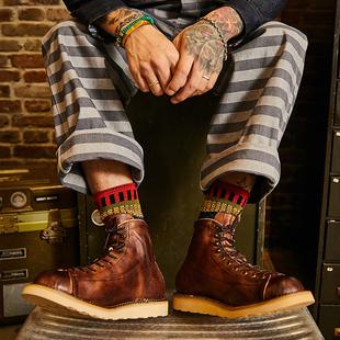 马丁机车短靴真皮男靴潮鞋 鞋 复古牛皮高帮做旧手工装 阿美咔叽美式