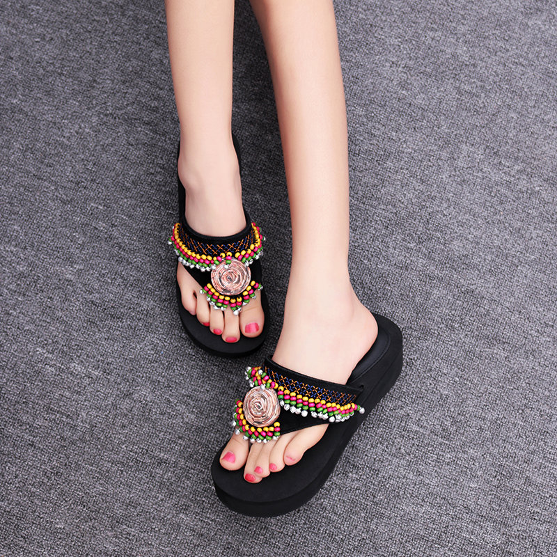 2021 summer new national style Beaded sandals leather thick bottom muffin herringbone slipper slope heel clip foot sandals women