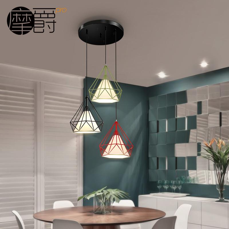 摩爵北欧现代简约钻石铁艺鸟笼吊灯复古创意单头餐厅金字塔吊灯