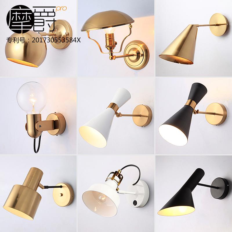 Руб джаз нордический спальня прикроватный свет настенный светильник простой современный живая дорога идти галерея отели золотой фон стена свет творческий
