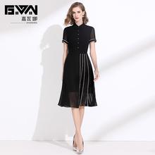 黑色连衣裙夏季显瘦雪纺裙子2021年新款修身短袖气质a字裙中长款