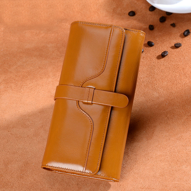 2020 new Korean womens wallet long pure leather retro oil wax cowhide womens big money wallet wallet package mail
