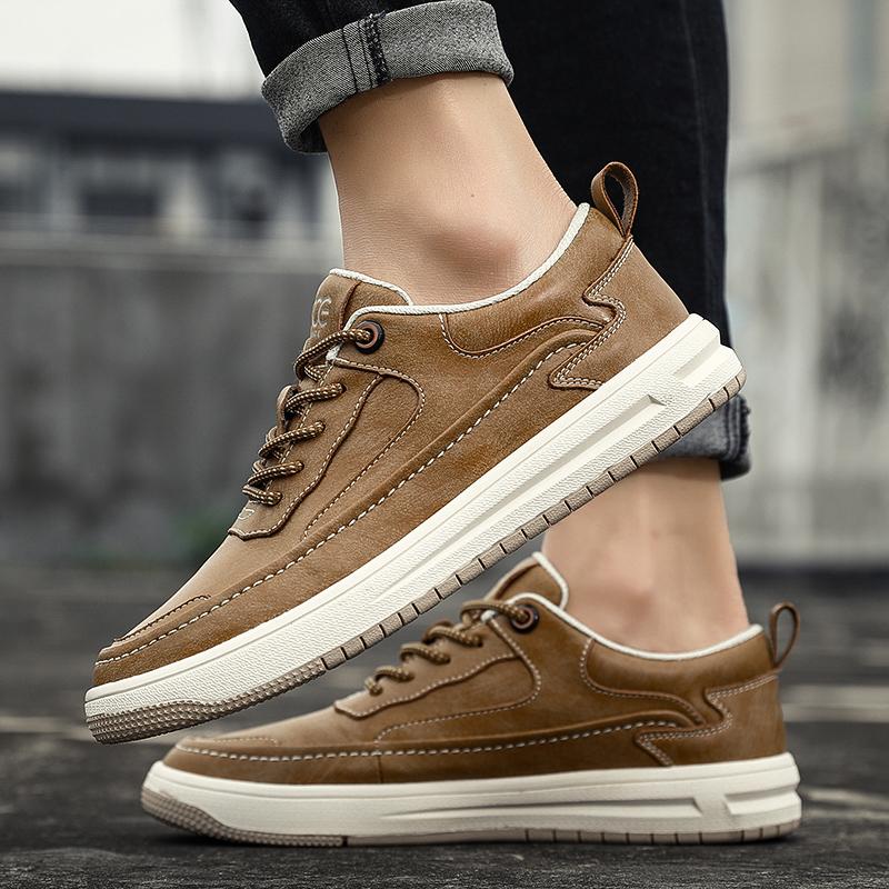 法国CCE春季男鞋英伦复古真皮厚底板鞋潮流透气休闲户外运动鞋