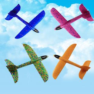 儿童玩具大号泡沫网红手抛飞机 发光回旋飞机模型用手仍摔不坏