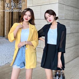 【反季清仓】美动态大码女装韩版2020胖妹妹夏季西装外套宽松薄款
