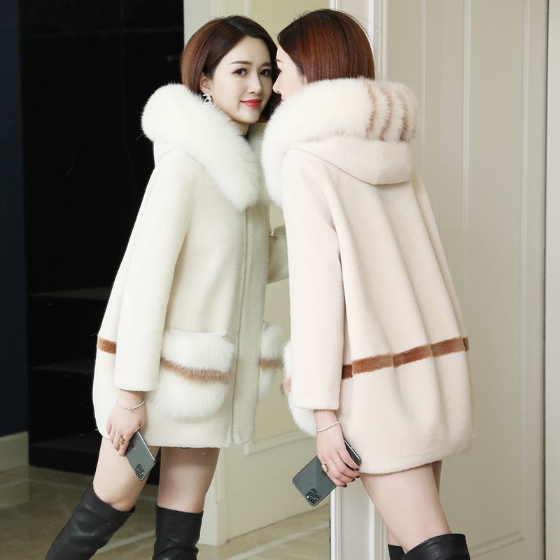Korean grain sheep shearing coat women's medium long fur coat contrast fox fur collar fur one young