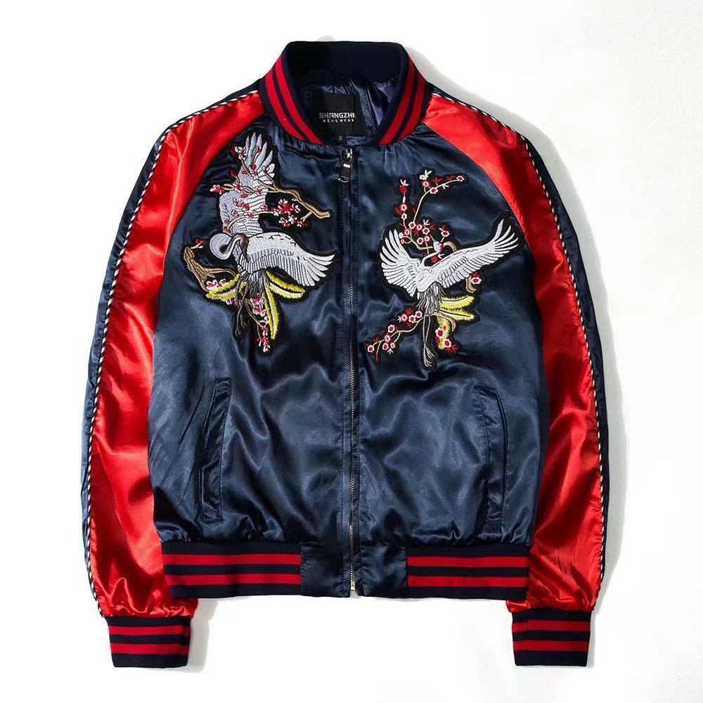 Autumn and winter Plush thickened mens jacket ethnic style mens embroidered Dragon Robe crane coat Yokosuka jacket Baseball Jacket
