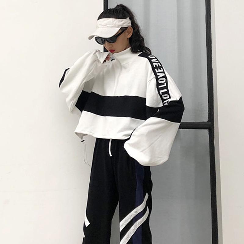 初秋韩版港味复古街拍帅气bf卫衣运动休闲哈伦裤女学生套装两件套