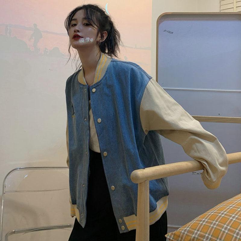 秋季韩版原宿风bf宽松百搭复古休闲长袖棒球服日系古着外套上衣女