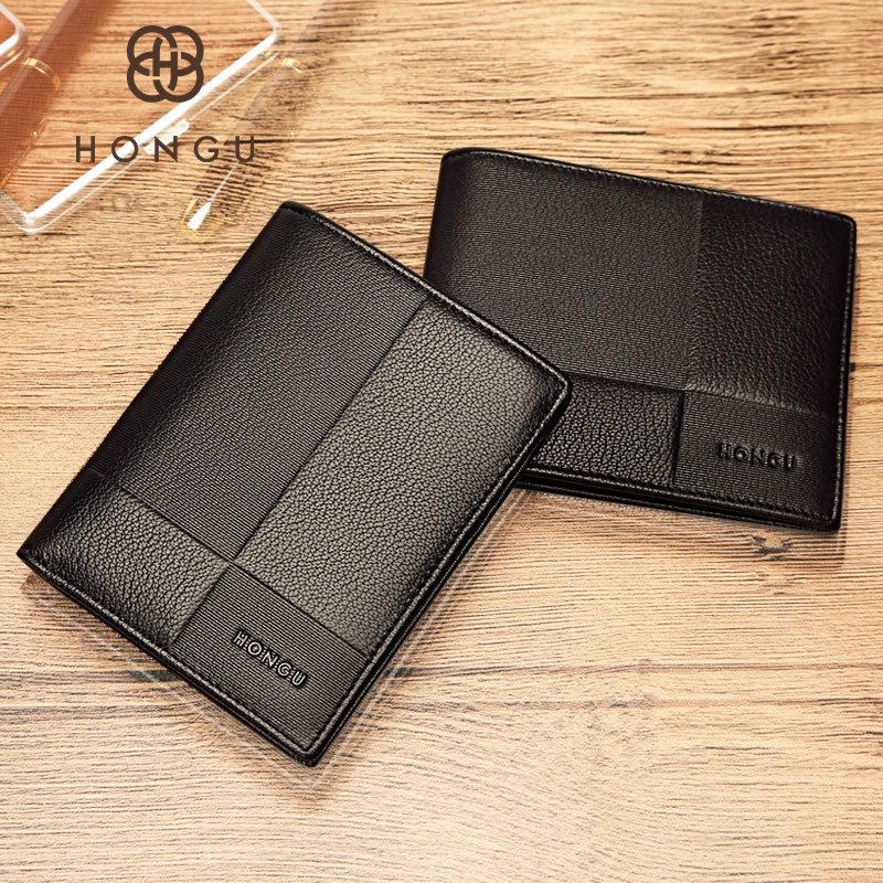 Honggu Red Valley top leather wallet mens genuine leather business Wallet