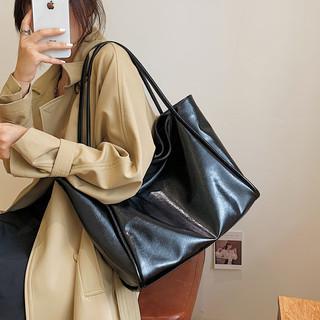 超火韩国潮软皮包包女新款森系复古高级感托特包大容量时尚单肩包