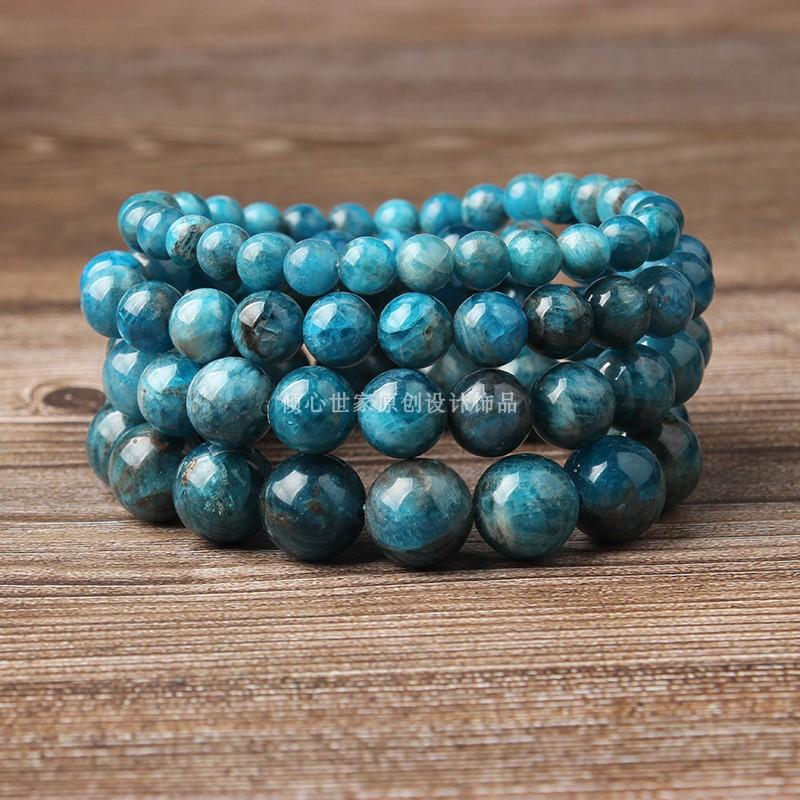 天然水晶 蓝磷灰石手链 女款单圈圆珠手串 情侣款蓝色首饰品 礼物