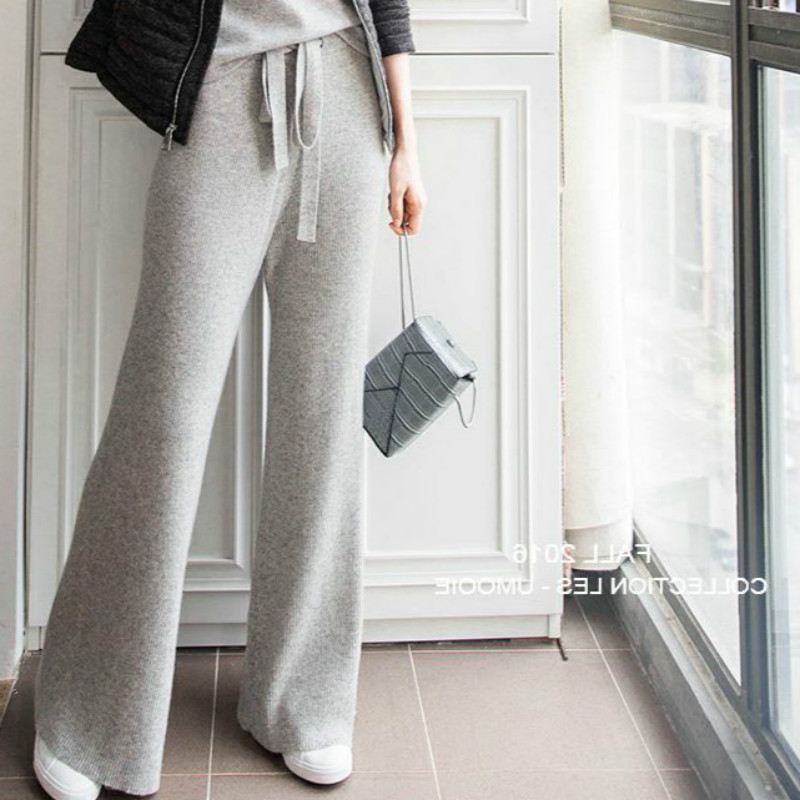 High waisted knitted cashmere wide leg pants new style pants for outside wear in autumn and winter womens wool thin straight pants casual pants