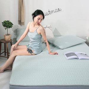 天然乳胶凉席三件套泰国天丝乳胶席可水洗夏季冰丝凉席床笠款定做